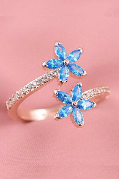 Unutma Beni Çiçeği Mavi Taşlı Ayarlanabilir Kadın 14 K Altın Kaplama Yüzük
