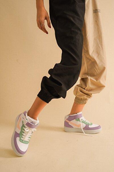 Beyaz Lila Spor Ayakkabı
