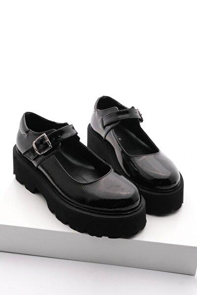 Kadın Kalın Taban Günlük Ayakkabı Gesofsiyah Rugan
