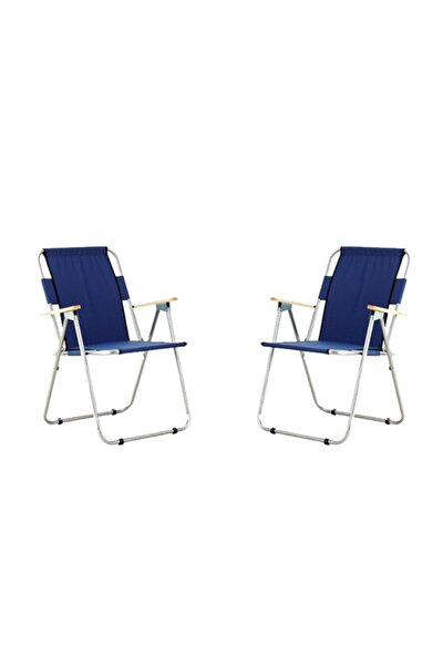 2'li Ağaç Kollu Katlanır Plaj, Piknik & Kamp Sandalyesi Seti Lacivert
