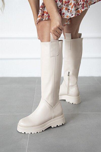 Kadın Fermuar Detay Deri Çizme Bej