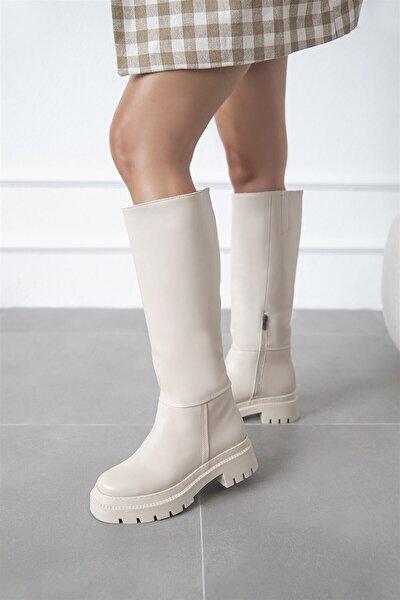 Elena Kadın Fermuar Detay Deri Çizme Bej