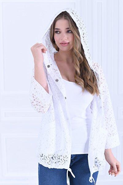Kadın Beyaz Büyük Beden Kapüşonlu Dantel Ceket