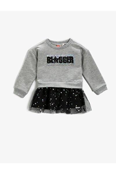 Kız Bebek Gri Pullu Tüllü Elbise
