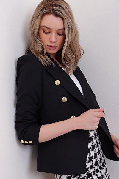 Kadın Siyah Omzu Vatkalı Içi Astarlı Kruvaze Düğme Detaylı Blazer Ceket Sl00036
