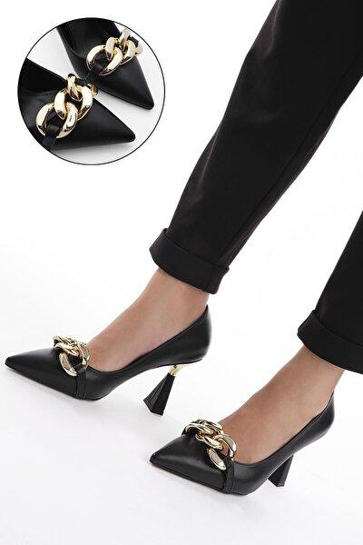 Kadın Siyah Stiletto Topuklu Ayakkabı Viyolin