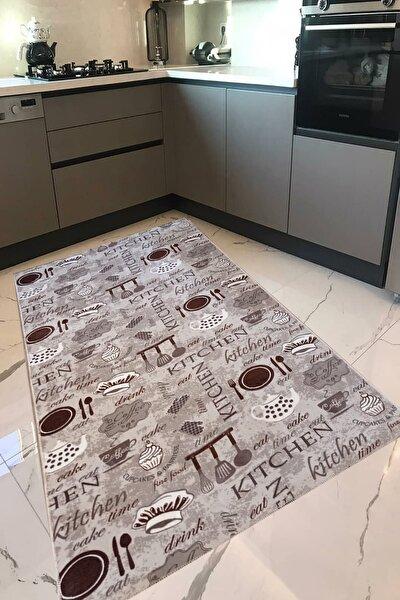 Mutfak Halısı Yolluk Makinede Yıkanabilir Kaymaz Taban Vizon