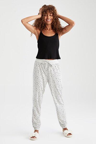 Kadın Gri Puantiye Baskılı Relax Fit Jogger Pijama Altı V5145AZ21AUGR