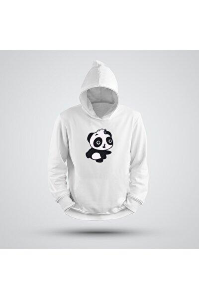 Kapüşonlu Koşan Panda Baskılı Sweatshirt
