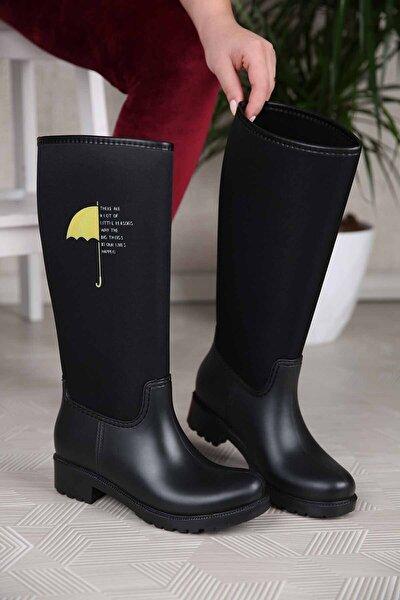 Kadın Şemsiye Desenli Yağmur Çizmesi Siyah