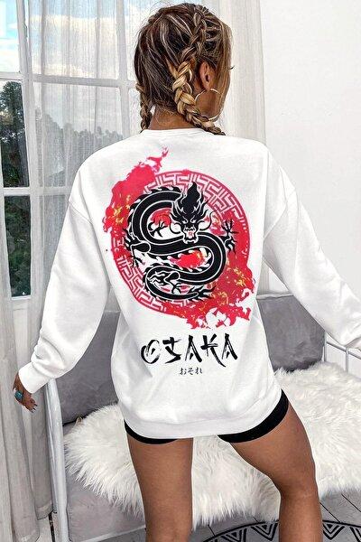 Kadın Beyaz Osaka Oversize Sweatshirt