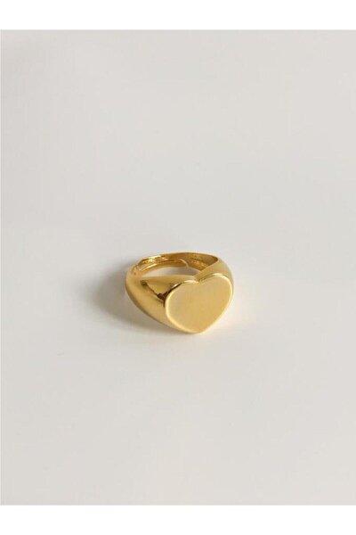 Kadın Altın Kalpli Plaka Yüzük