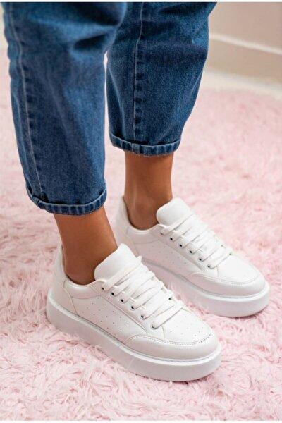 Kadın Beyaz Kalın Tabanlı Sneakers