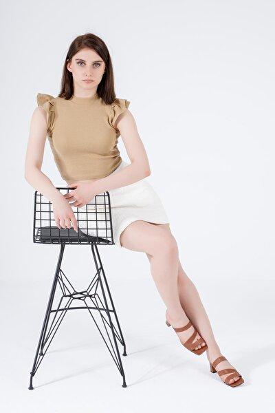 Kadın Taba Hakiki Deri Kalın Topuklu Küt Burun Bantlı Sandalet Terlik