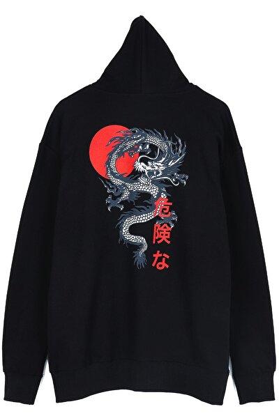 Japon Karakter Fermuarlı Siyah Unisex Sweatshirt