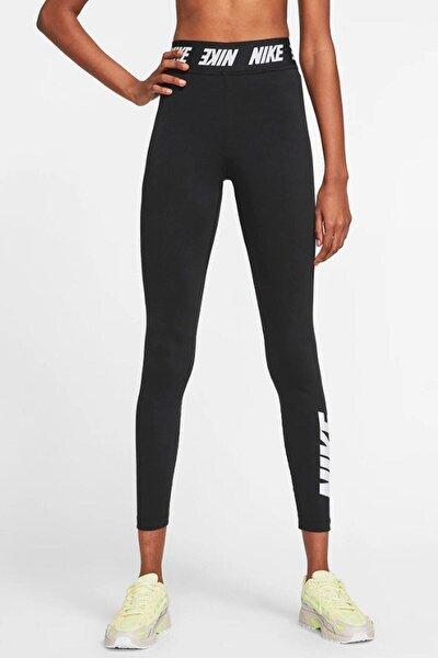 Sportswear Tight Fit Bel Bantlı Yüksek Belli Pamuk Polyester Siyah Tayt