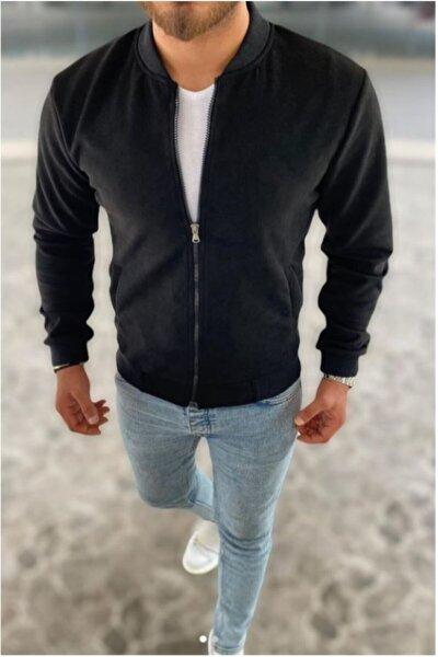 Erkek Kolej Yaka Slim Fit Mevsimlik Siyah Nubuk Ceket