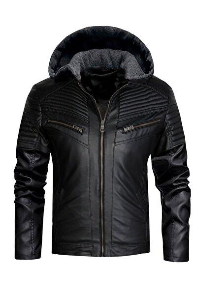 Erkek Siyah Dar Kesim Kapüşonlu Deri Ceket