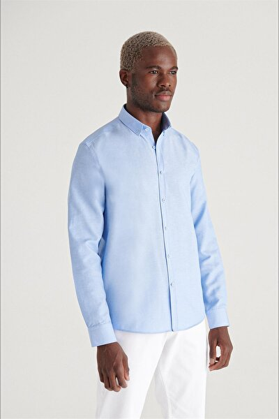 Erkek Mavi Oxford Düğmeli Yaka Regular Fit Gömlek E002000