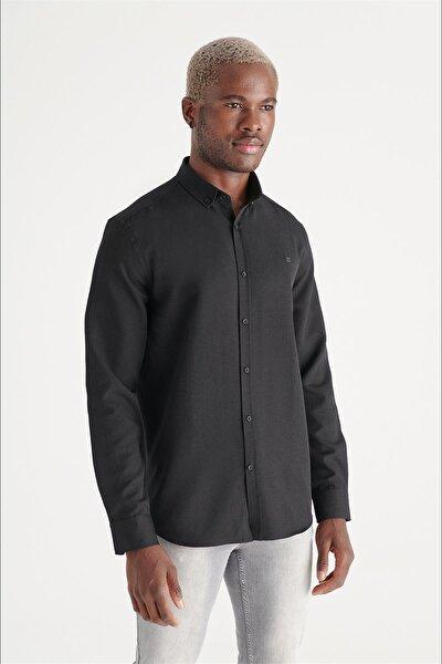 Erkek Siyah Oxford Düğmeli Yaka Regular Fit Gömlek E002000