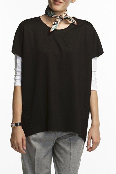 Coco Siyah Oversized Kısa Kol Viskon Bluz