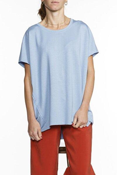 Mavi Oversized Kısa Kol Viskon Bluz