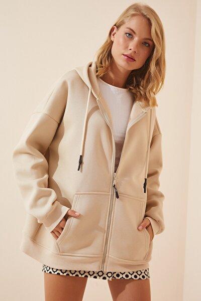 Kadın Krem Kapüşonlu Oversize Şardonlu Fermuarlı Örme Sweatshirt OX00092
