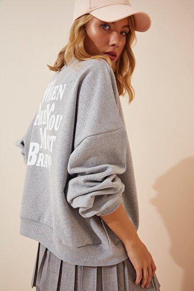Kadın Gri Melanj Baskılı Şardonlu Basic Sweatshirt DZ00001