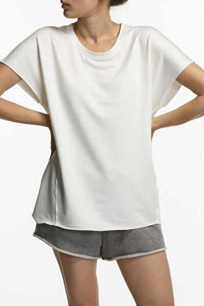 Coco Ekru Oversized Kısa Kol Viskon Bluz