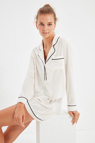 Beyaz Biyeli Dokuma Pijama Takımı THMAW22PT0105