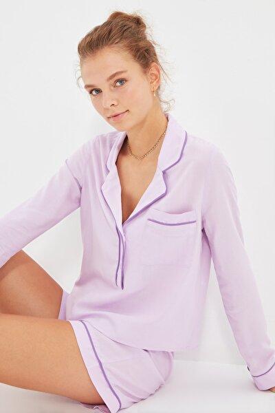 Lila Biyeli Dokuma Pijama Takımı THMAW22PT0105