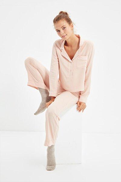 Pudra Biyeli Dokuma Pijama Takımı THMAW22PT0218