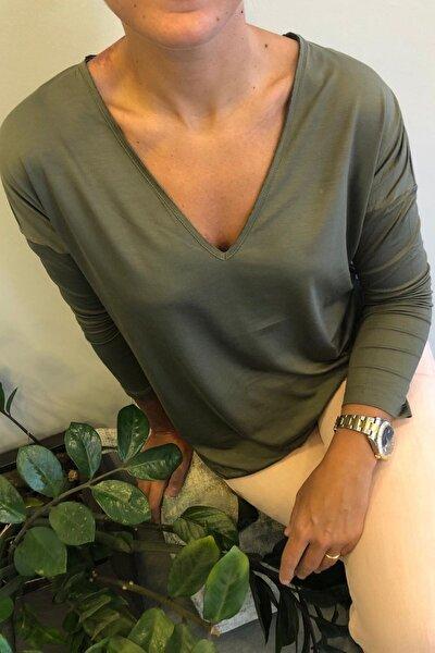Vogue-ls Yeşil V Yaka Viskon Bluz