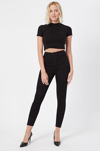 Siyah Kot Pantolon Dar Paça Yüksek Bel - Simsiyah Skinny Jeans Black Jean Solmayan Siyah