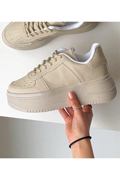 Kadın Bej Sneaker Yüksek Tabanlı 5 cm Spor Ayakkabı