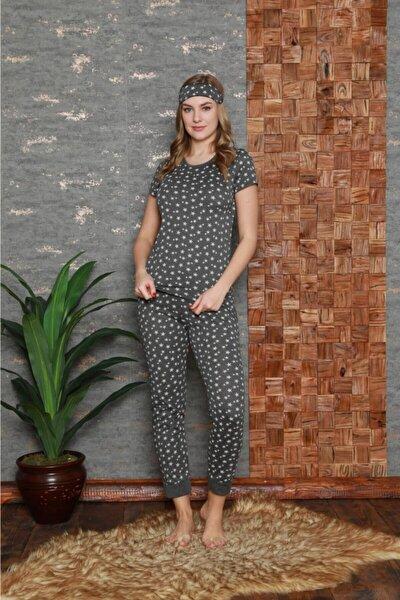 Kadın Antrasit Pamuklu Baskılı Kısa Kol Pijama Takım