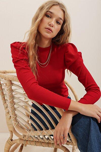 Kadın Kırmızı Prenses Kol Yarım Balıkçı Şardonlu Crop Bluz ALC-X5042