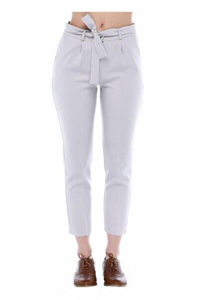 Kuşaklı Gri Bilek Kadın Pantolon