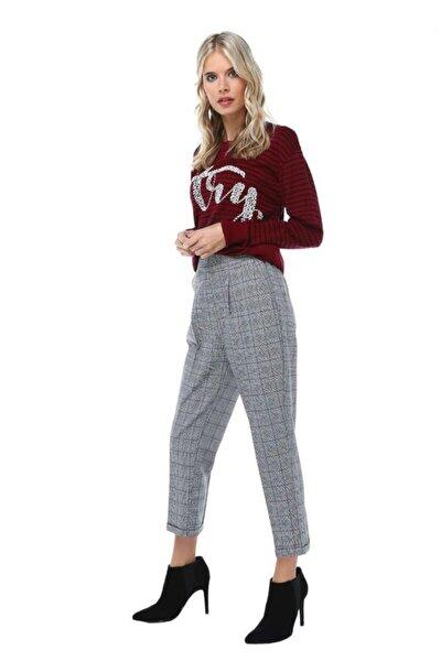 Belden Lastikli Gri Ekose Bilek Kadın Pantolon
