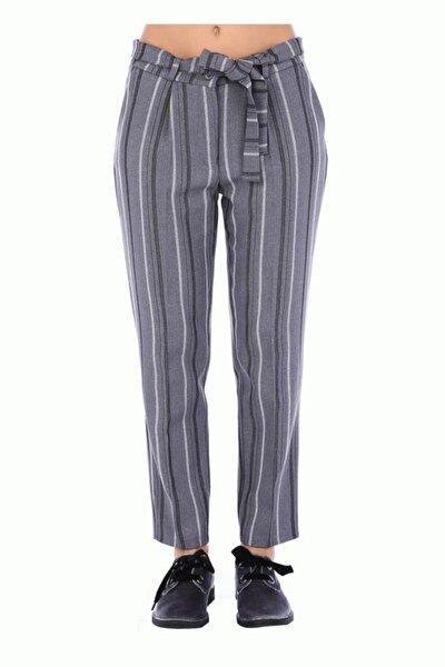 Kuşaklı Gri Çizgili Bilek Kadın Pantolon