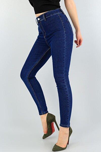 Kadın Lacivert Yüksek Bel Likralı Kadın Kot Pantolon
