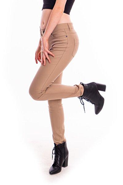 Krem Parlak Kumaş Pantolon