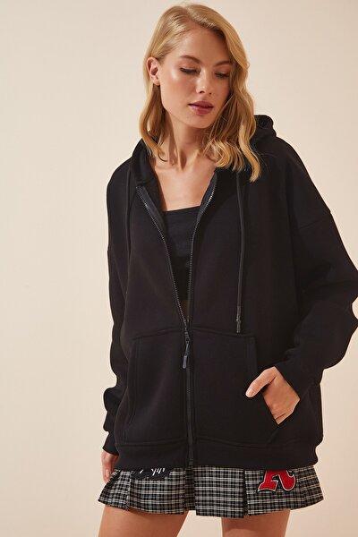 Kadın Siyah Kapüşonlu Oversize Şardonlu Fermuarlı Örme Sweatshirt OX00092