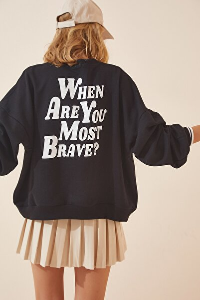 Kadın Siyah Baskılı Şardonlu Basic Sweatshirt DZ00001