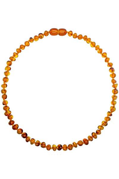 Karamel (Cognac) Renk Parlak Barok Baltık Kehribar Bebek Diş Kolyesi (33 cm) (Unisex)