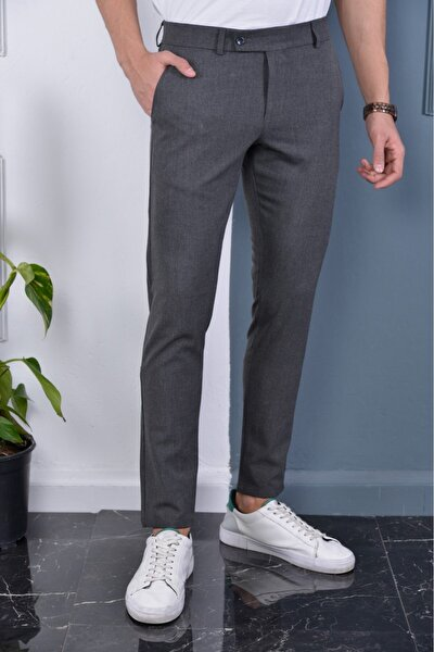 Erkek Okul Grisi Italyan Kesim Slimfit Kumaş Pantolon