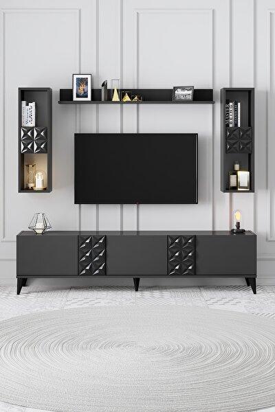 Kristal_antresit Siyah Kristal Tv Ünitesi