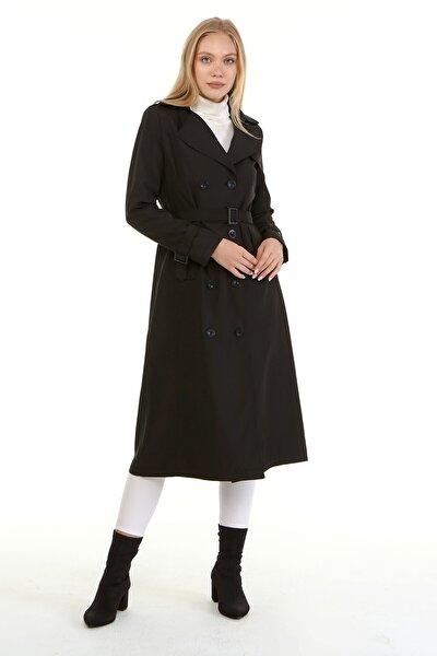 Uzun Kadın Astarlı Trençkot-siyah