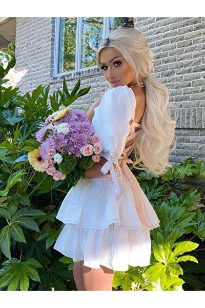 Kadın Beyaz Sırtı Kurdeleli Elbise / 26y