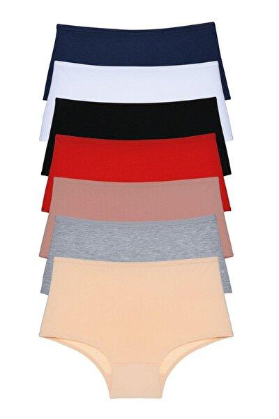 Kadın Vizon Kırmızı Siyah Yüksek Bel Külot 7'li Paket